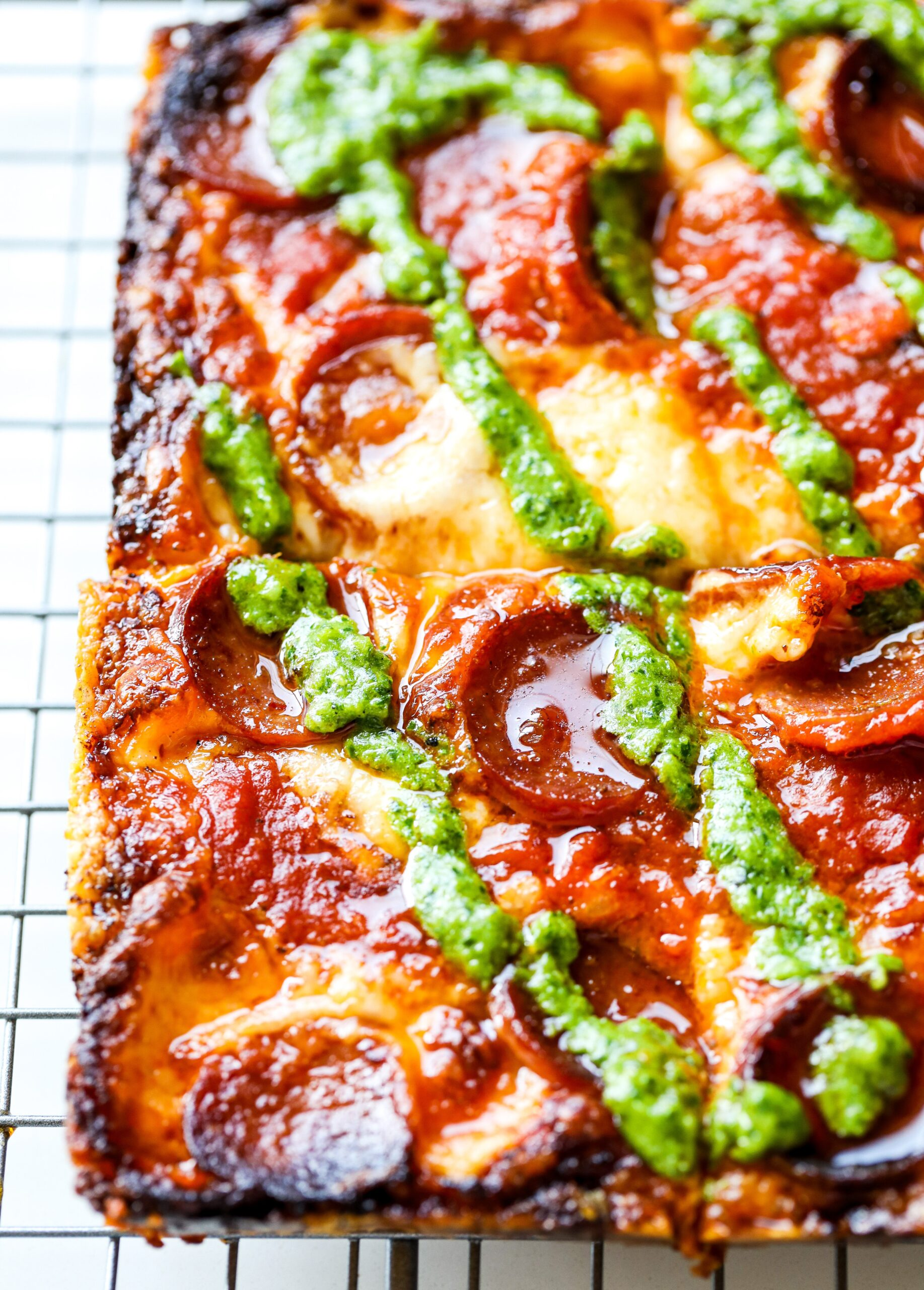Pepperoni and Jalapeno Pesto Pan Pizza