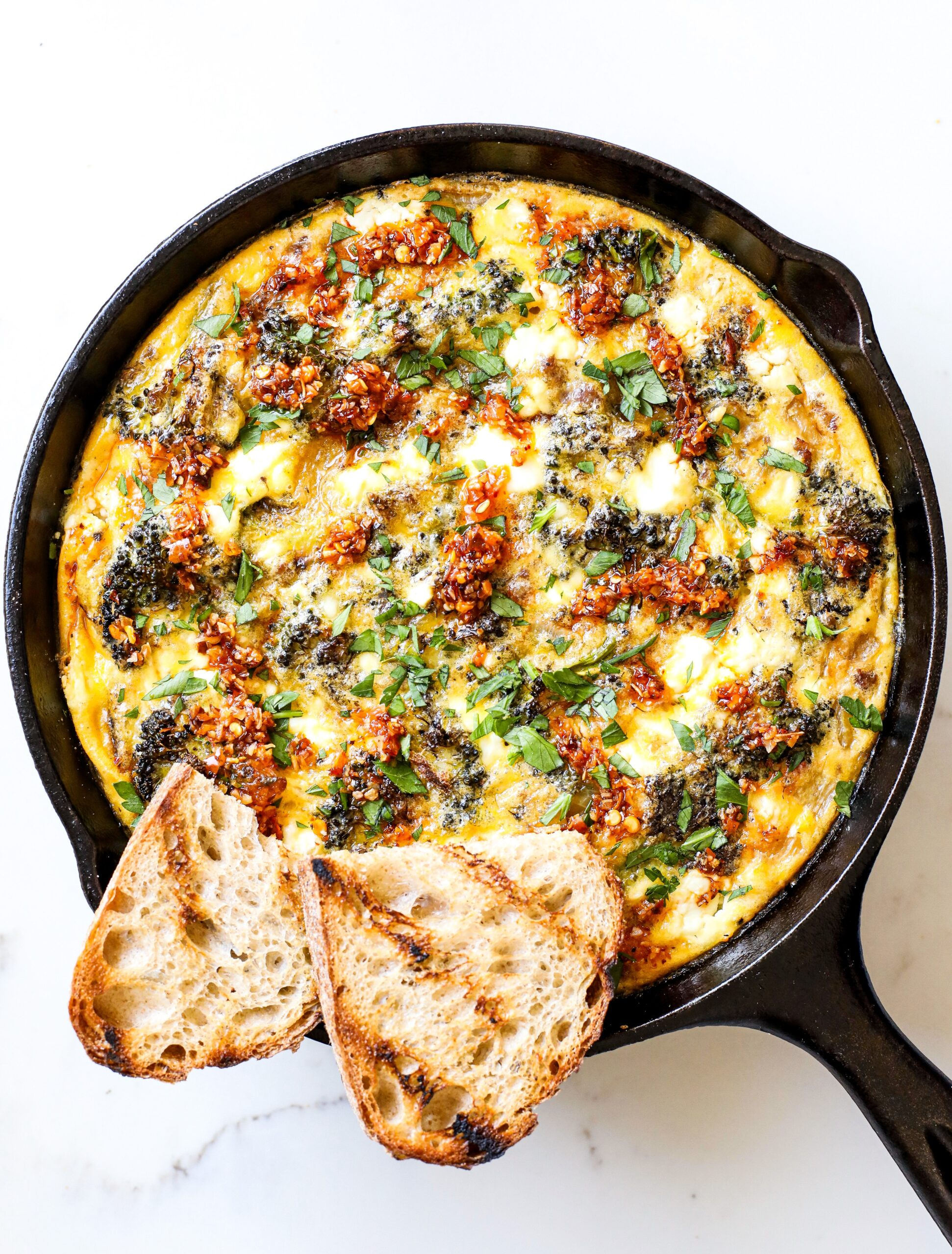 Roasted Broccoli, Sausage, and Goat Cheese Frittata