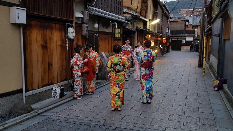 kyoto gion japanese ladies kimono