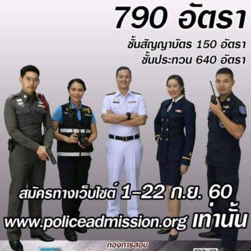 ด่วน!! สำนักงานตำรวจแห่งชาติ เปิดรับสัครสอบตำรวจ  จำนวน 790 อัตรา