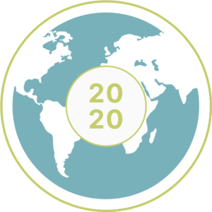 World with 2020 Design Challenge mark in the center.