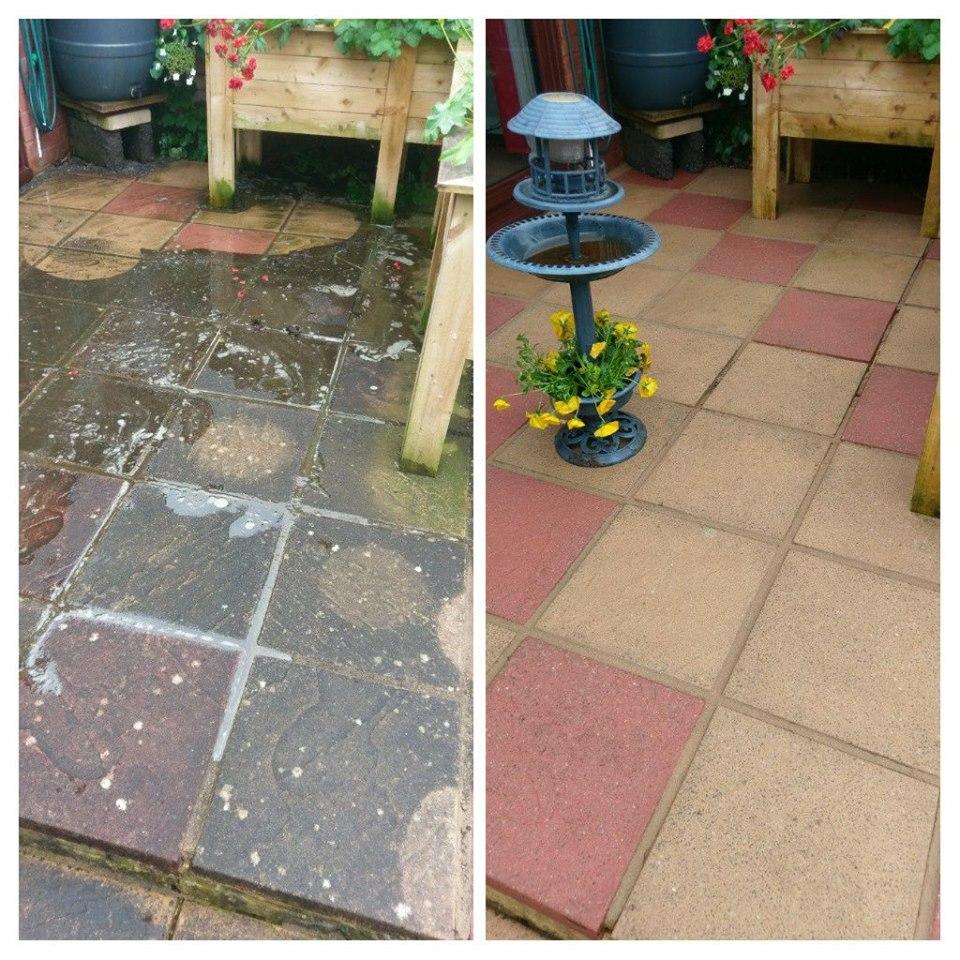 Pressure washing patio