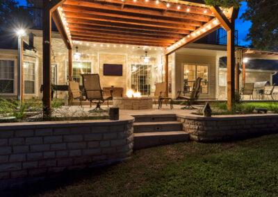 Cooley backyard night shot towards house