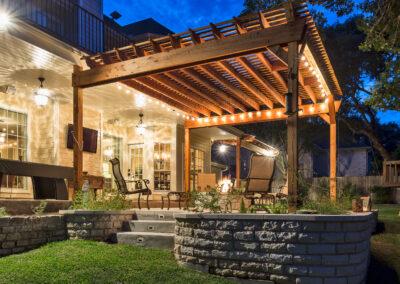 Cooley backyard patio night side