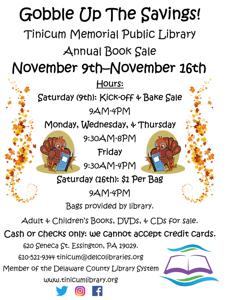 Annual Book Sale at Tinicum Library November 2019