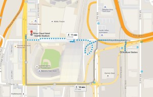 walking directions from Light Rail to Silver Cloud Stadium