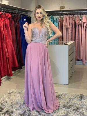 vestido rose bordado.