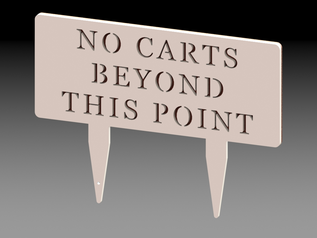 Range Divider Sign with Stakes No Carts Beyond Version 3