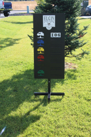 Yardage Sign on Post with X base