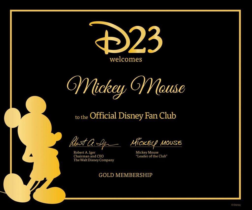 D23 Member Certificate