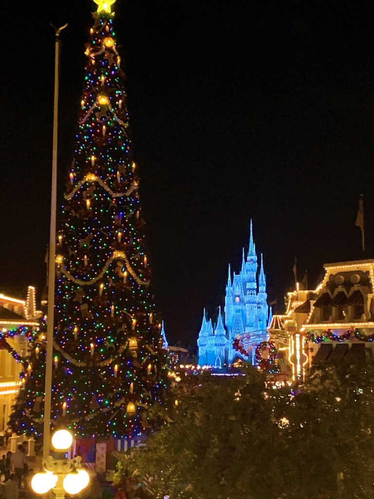 Main Street USA - Magic Kingdom - Christmas Tree and Cinderella Castle - What Disney At The Holidays Means To Us
