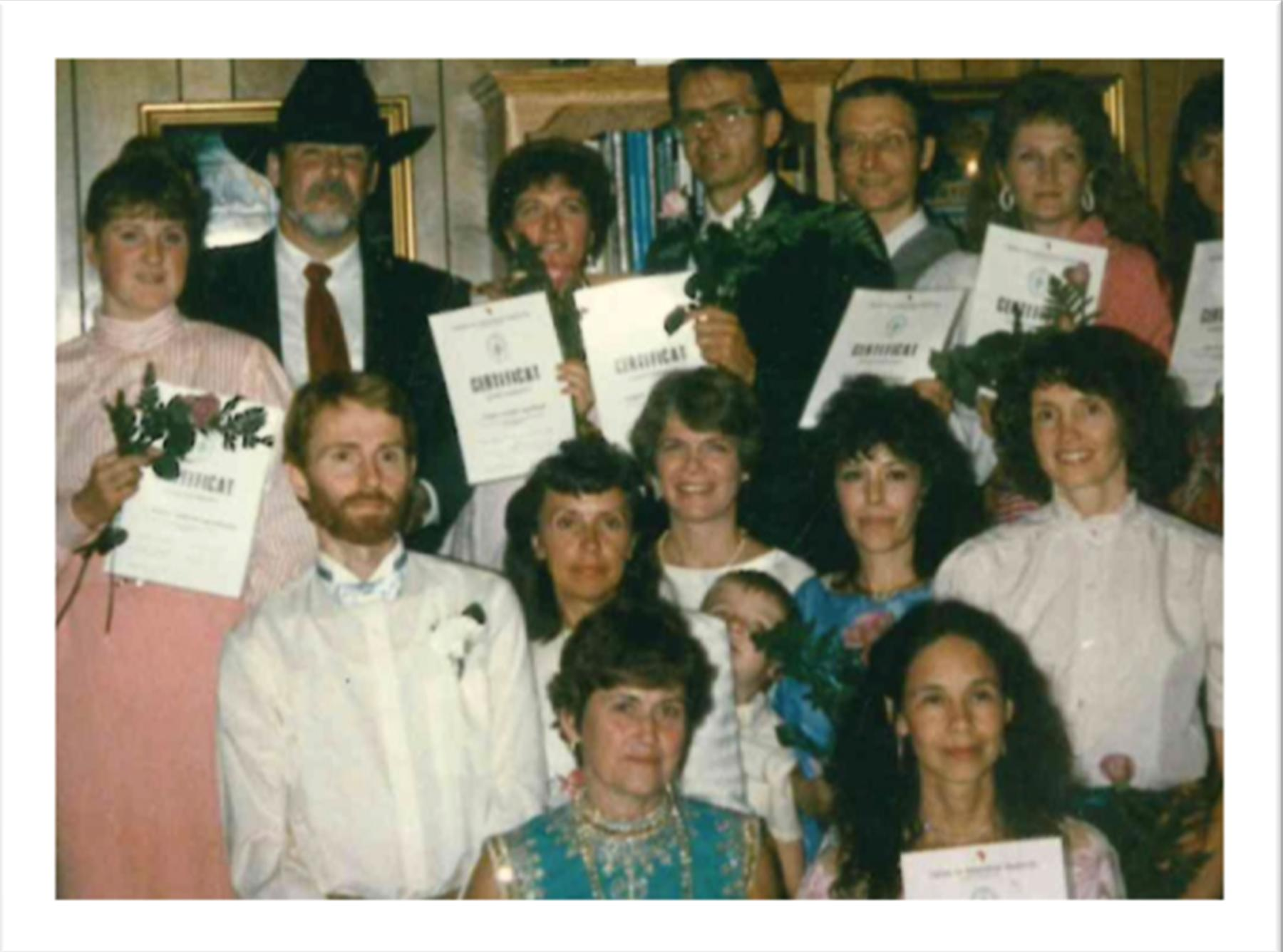 1st Graduating Class in America</br> March 1991</br> Back row: Marita Zachrisson, Charles Ersdal,</br>Tonya Gomman-Swan, Bob Personnette, Jan Johanson,</br>Sherry (last name unknown), Unknown</br> Middle Row: Hans Nordblom, Katri Nordblom,</br>Robin Foline, Joshua Goman (Tonya's son) Mary Jo Morgan,</br>Julie Holdregger</br> Front row: Inbrit Stein, Bernadette Jagiello