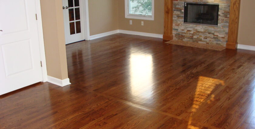 White oak floor with brown finish