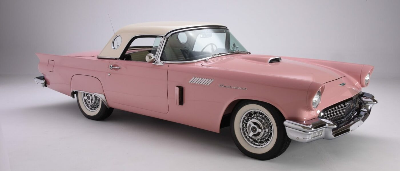 The pink 1957 Thunderbird is in the collection of Newport Car Museum, Newport, RI