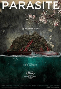 Parasite Movie Poster Stone and flowers and title and director name
