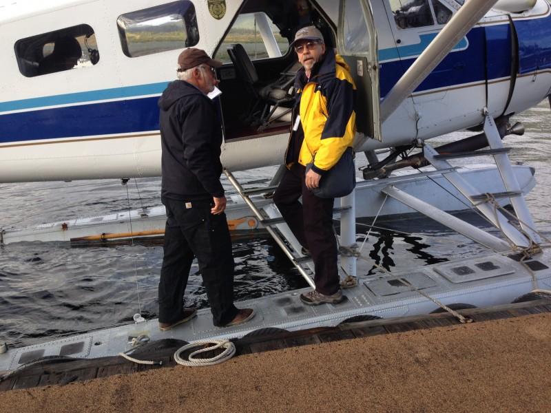 Denis boarding DeHavilland Beaver seaplane for flight to Margaret Creek from Ketchikan Alaska