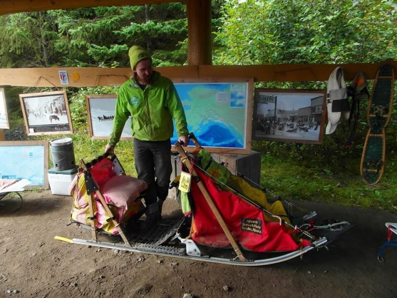 Musher John lecturing about Alaska sled dog racing! Skagway Alaska