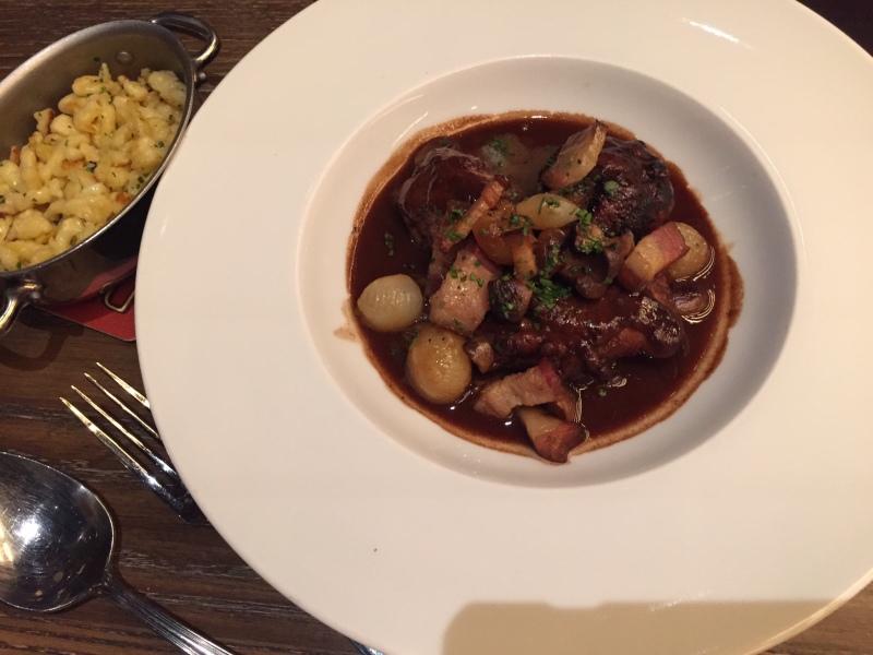 COQ AU VIN, mushrooms, lardons, pearl onions, spatzle