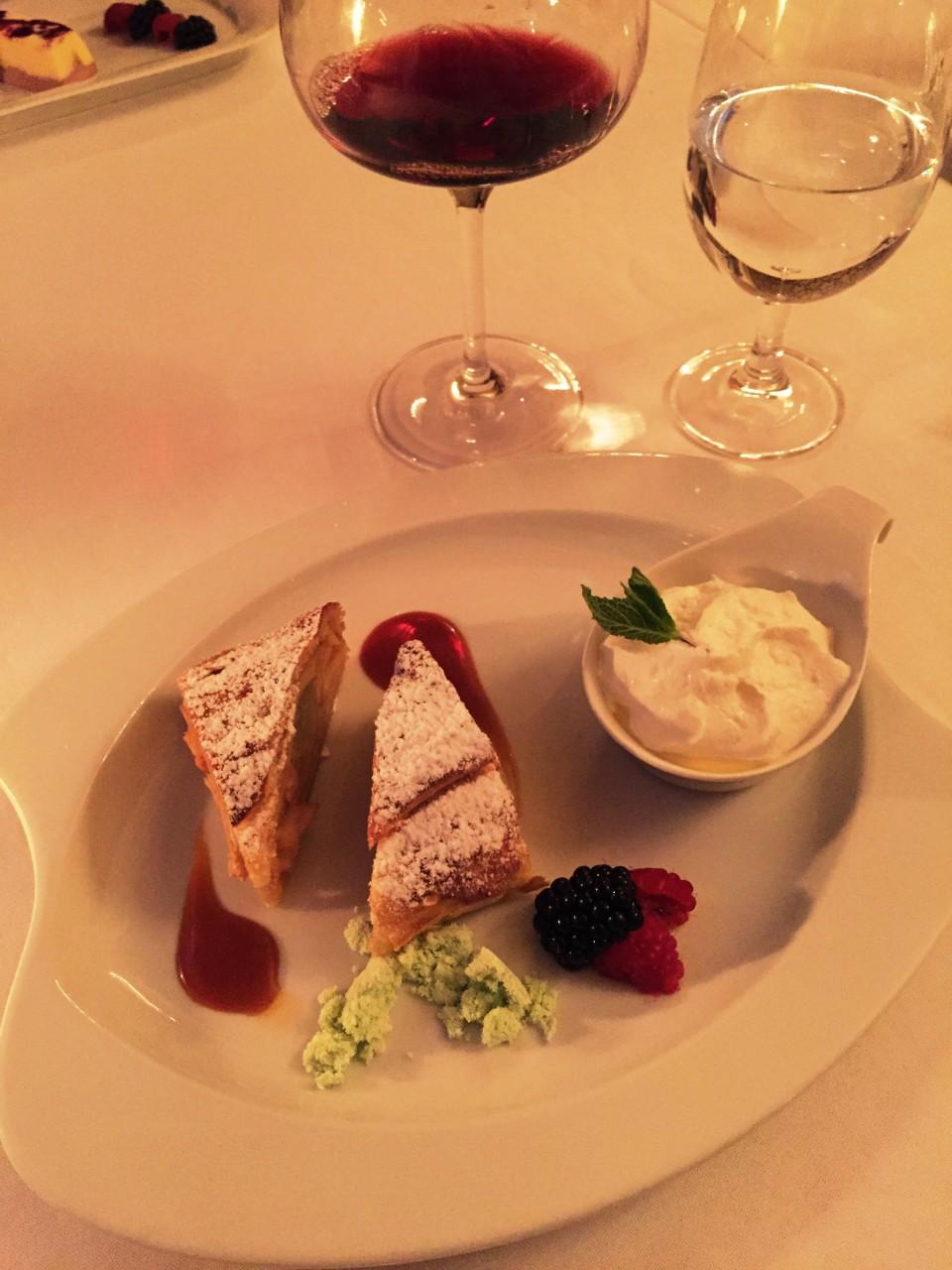 Piano Nobile at Villa Richter : Warm Apple Strudel with vanilla ice cream and caramel sauce