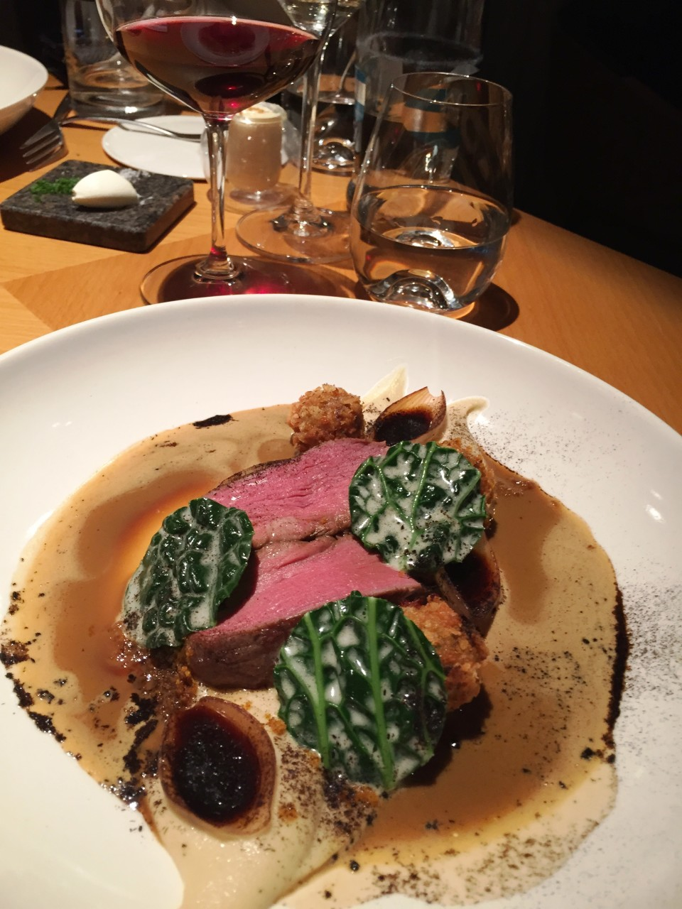 Field Restaurant in Prague : Main course of Veal, marrrow, shallots, kale