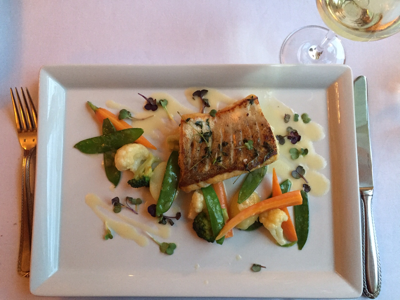 """Piano Nobile at Villa Richter : European Pike Perch (""""Zander"""") Filet, seasonal vegetables and buttery white wine sauce"""