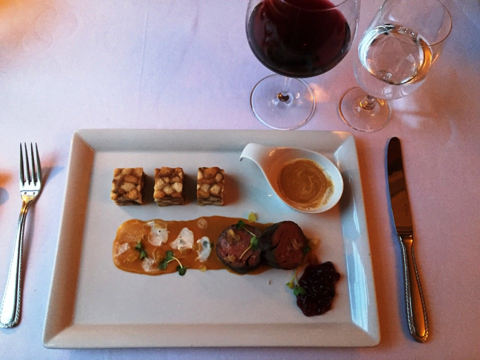 """Piano Nobile at Villa Richter : Beef Rump prepared sous-vide (""""spickova"""") with traditional root vegetable sauce, Carlsbad dumplings and cranberry coulis"""