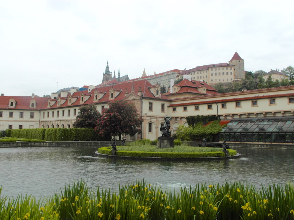 Prague Castle and Castle Hill viewed from the Gardens of the Senate in Lesser Town