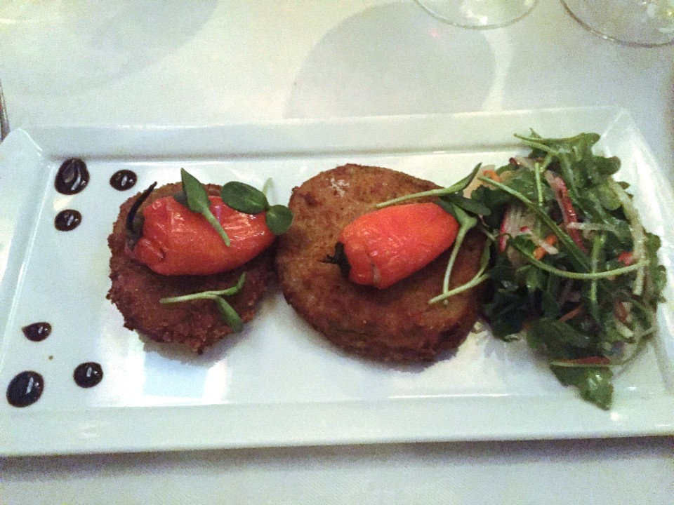 Local Fried Green Tomatoes & Goat Cheese* Stuffed Sweet Peppers with Herb Vinaigrette