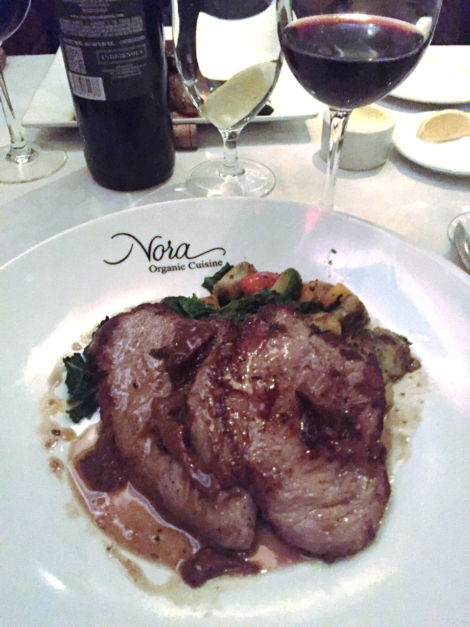 Sauteed Veal Escalopes with Housemade Gnocchi, Garlicky Kale, Brussel Sprouts, Peppers, Chanterelle Mushroom Sauce