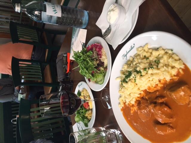 Veal Goulash with spaetzle at Figlmüller restaurant