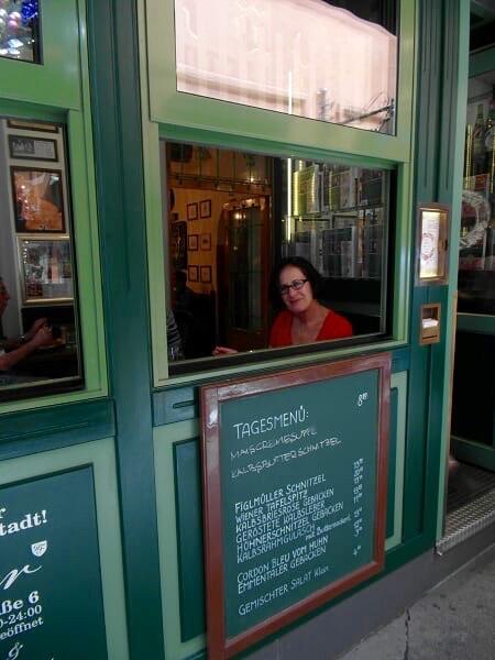 Lynn at Figlmüller restaurant in Vienna, Austria