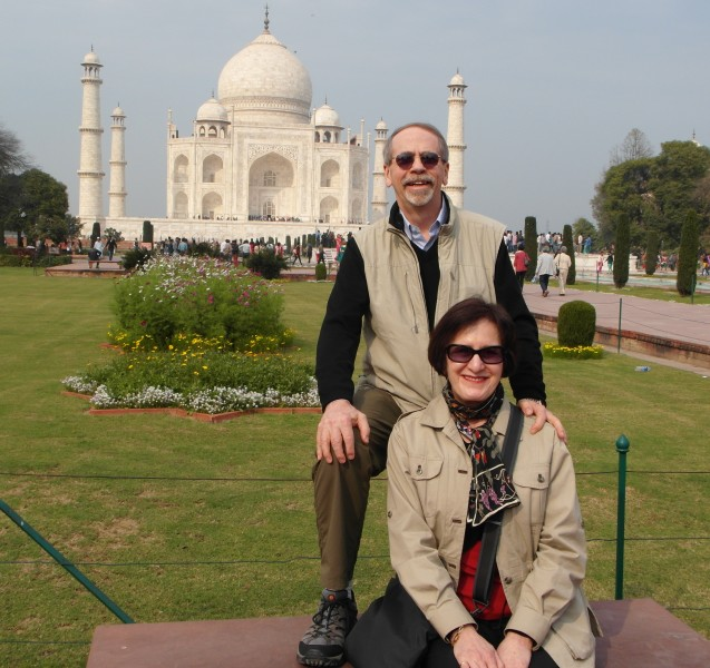 Travel Essentials for the frequent world traveler : Travel Vest, Hidden Cargo Pants and Waterproof Hiking Shoes at the Taj Mahal in Agra India