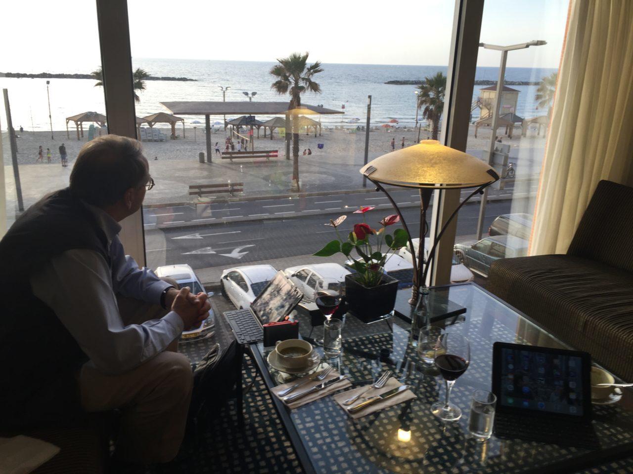Vacationing in Israel ... Enjoying the sunset at the King David Lounge of the Dan Tel Aviv Hotel