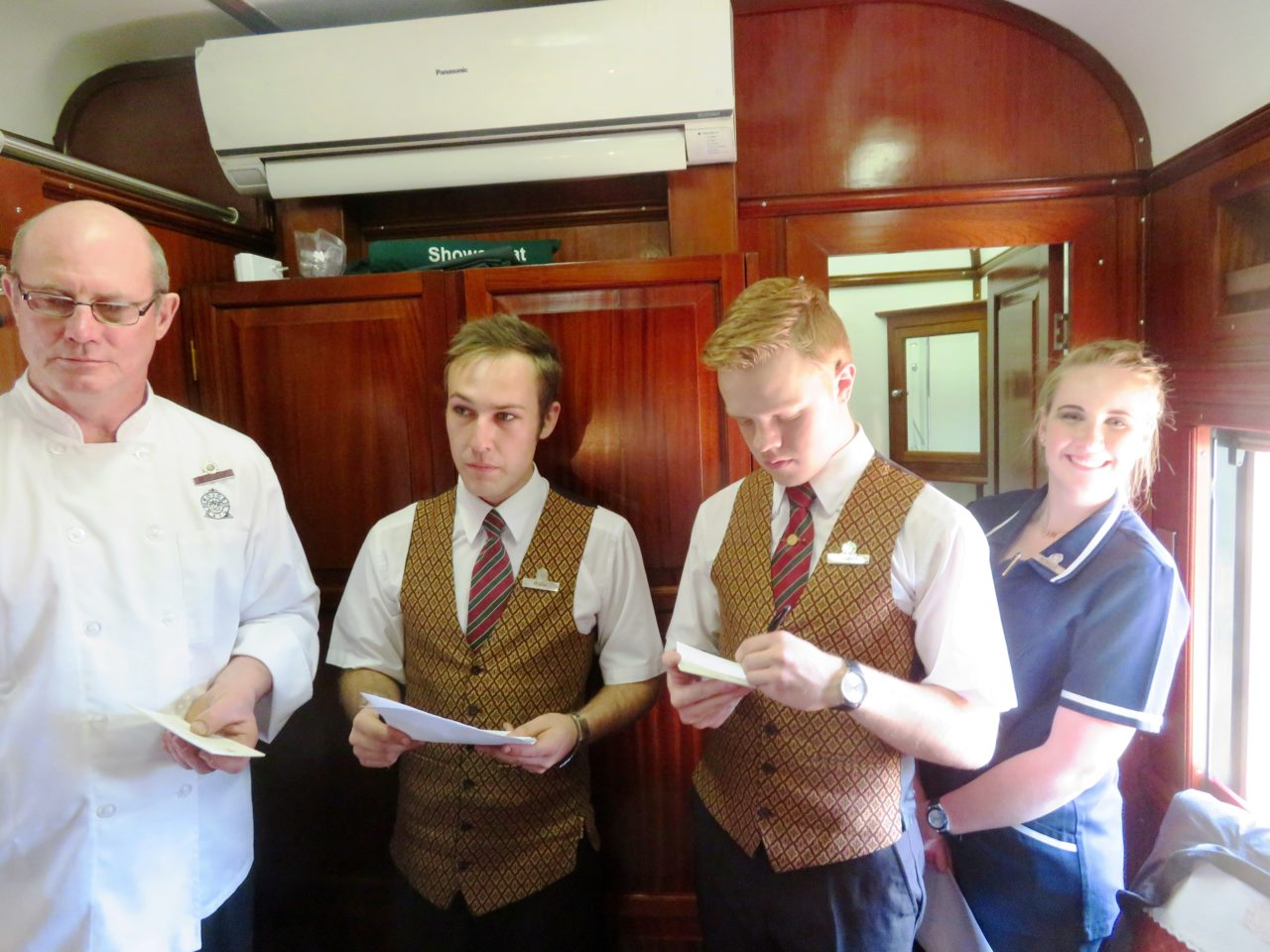 Personal service at its best ! <strong>Rovos <em>Rail</em></strong> Executive Chef , waiting staff, butler all want to know our preferences !