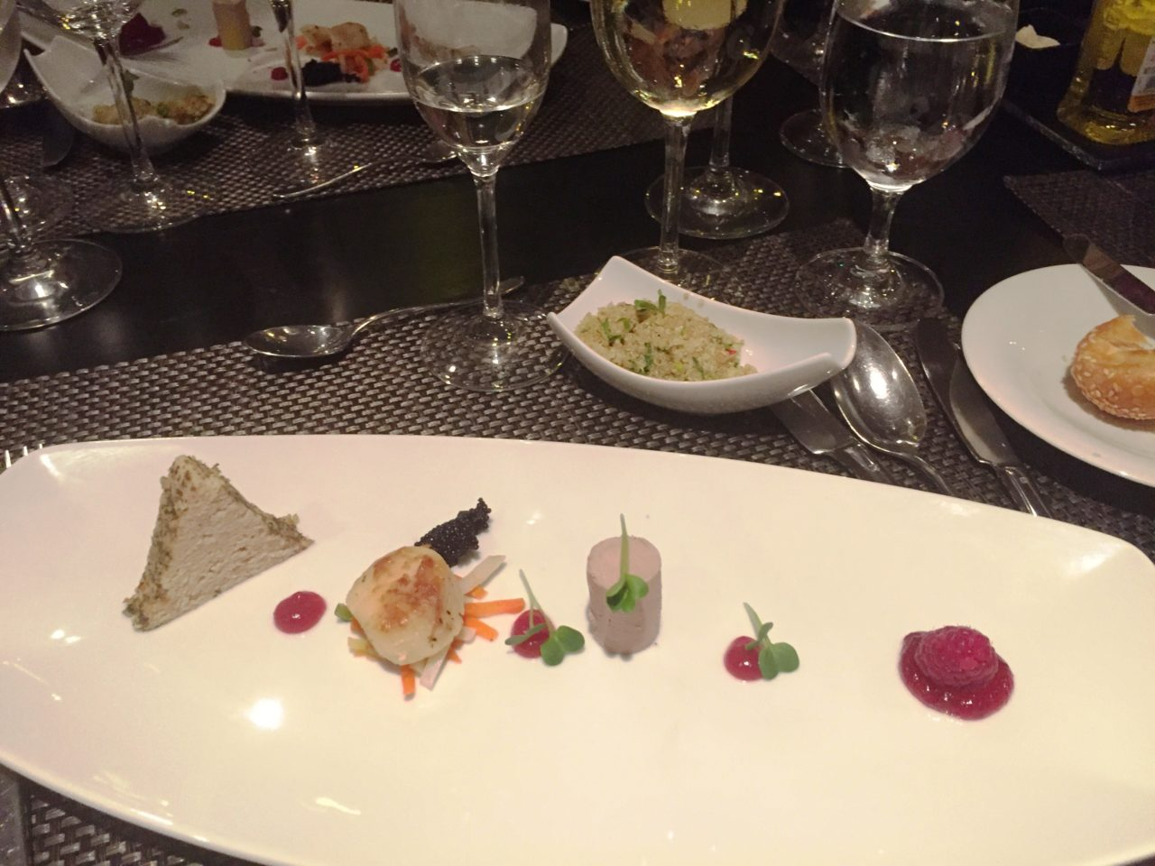 Appetizer plate of the Tasting Menu at Chef's Table restaurant of AMALegro (Paris and Normandie AMAWaterways Cruise)