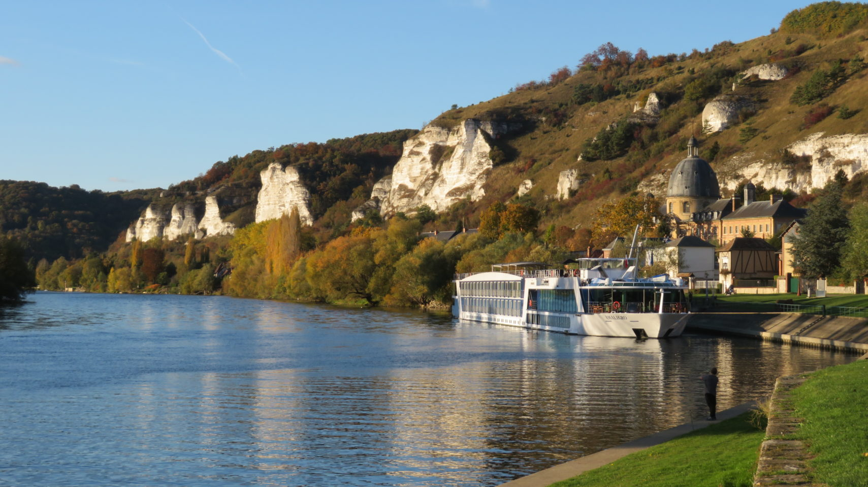 AMALegro docked along the beautiful Seine River in Normandie, France (Paris and Normandie AMAWaterways Cruise)