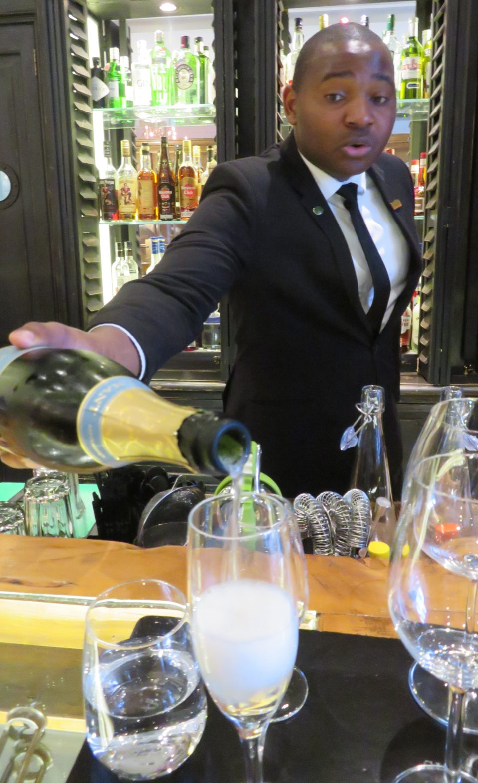 Starting our wine tasting with a Cap Classique Brut at the Cape Grace Hotel