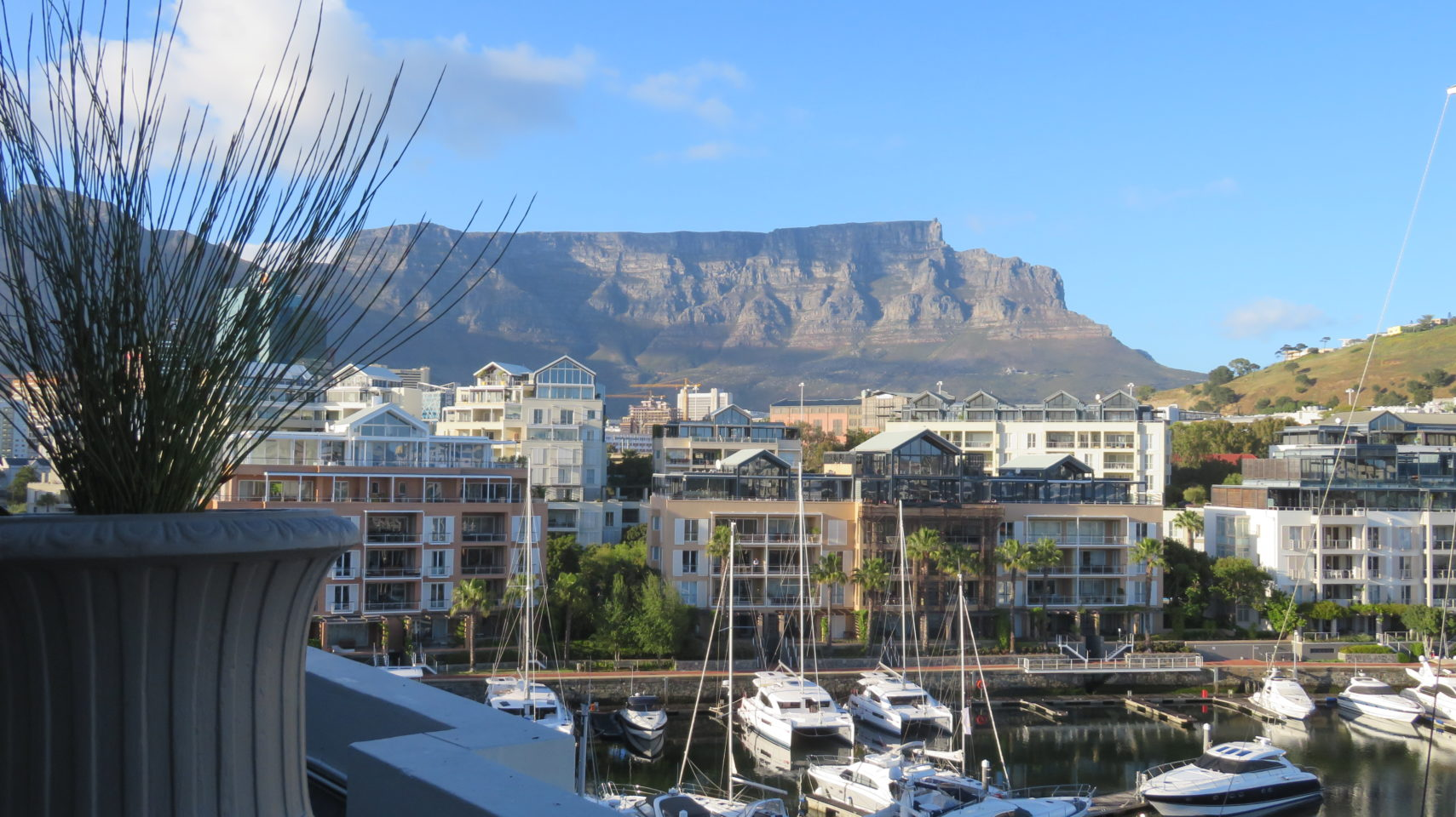 View of Table Mountain from our guestroom balcony at the Cape Grace Hotel