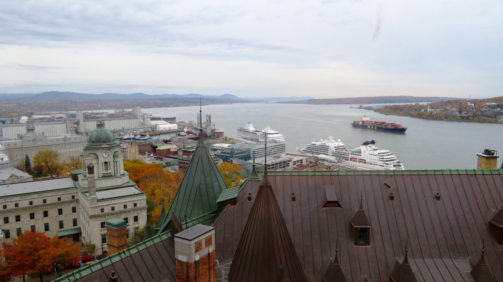 View of Quebec City, Levis and Ile d'Orleans from our guestroom at the Fairmont Le Chateau Frontenac