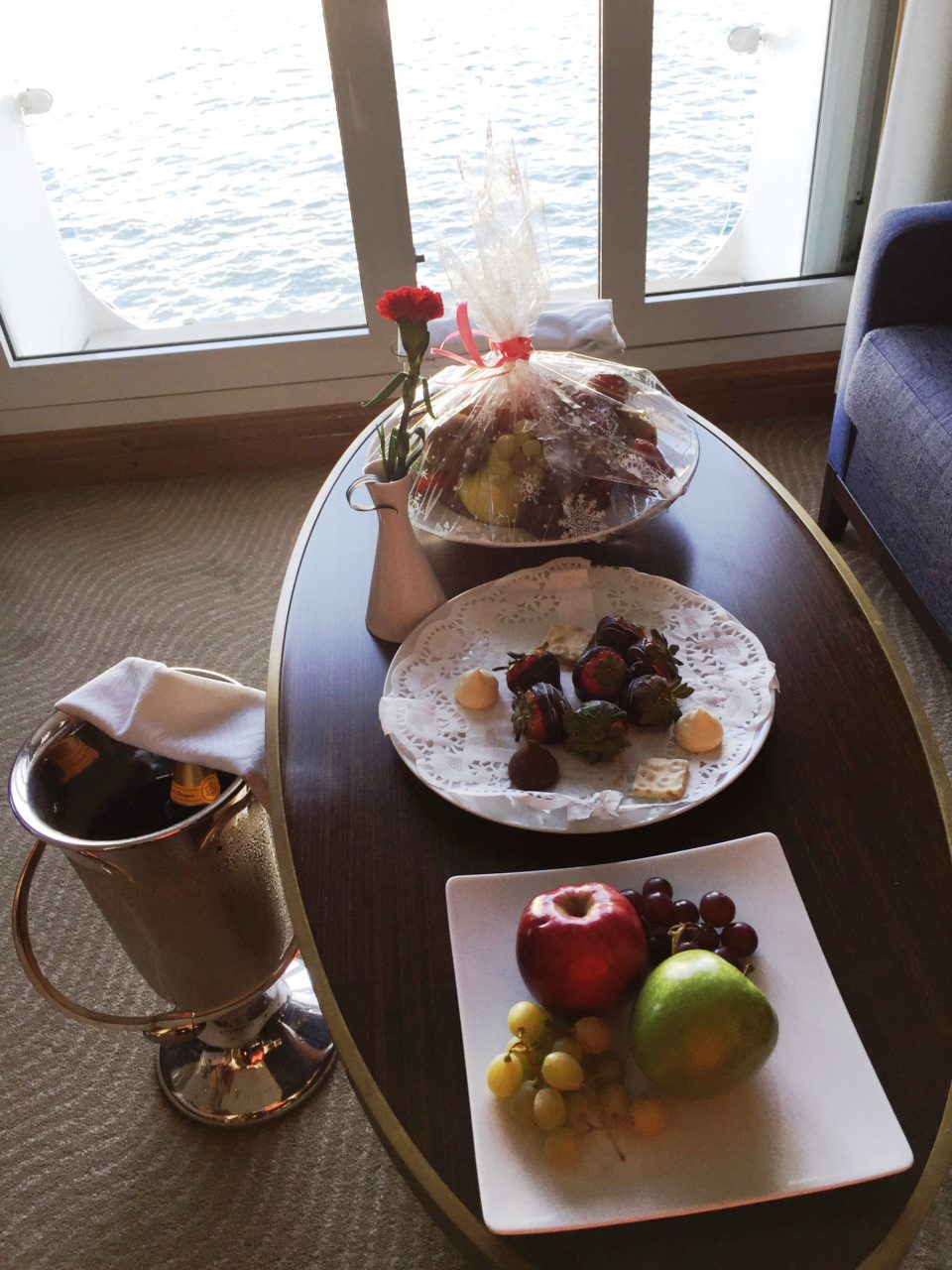 Windstar Cruises ~ Brut Champagne from Maison Veuve Cliquot and dark chocolate-covered strawberries ... my kind of welcome