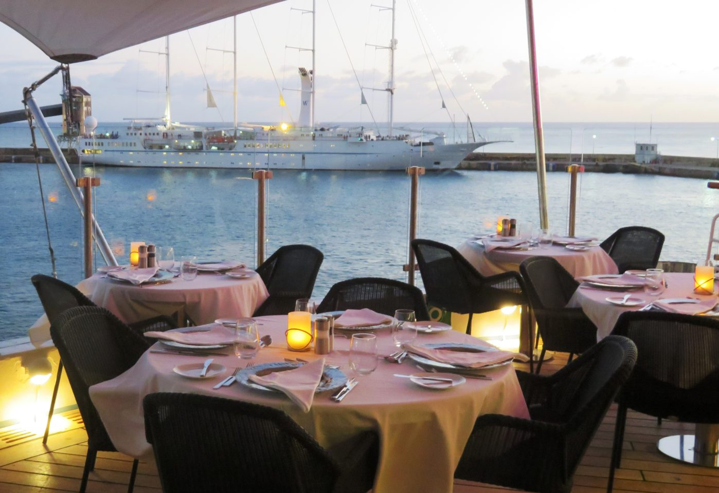 Windstar Cruises Star Legend ~ our table with its glorious views and sea breezes awaits us in paradise