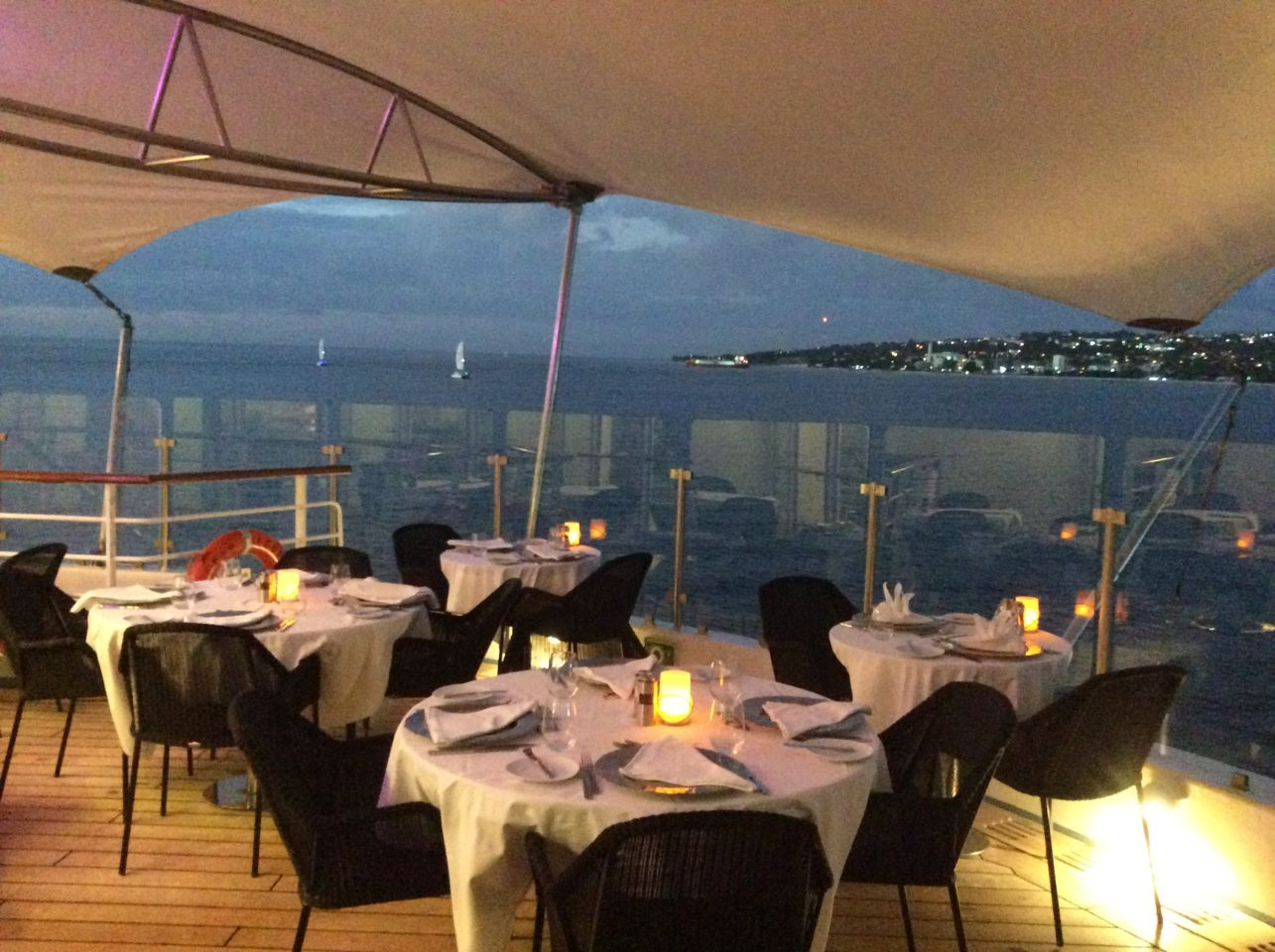 Windstar Cruises Star Legend ~ leaving Barbados ~ dining al fresco at Candles while enjoying glorious views and gentle sea breezes ... a taste of paradise
