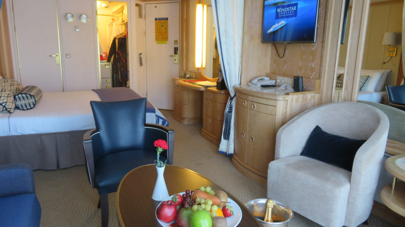 Windstar Cruises ~ our ideal cabin, from fresh fruit to the perfect dressing table with both American and European outlets