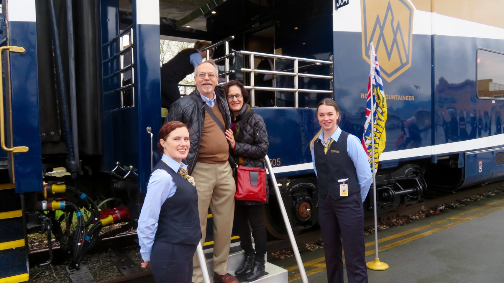 Lynn and Denis boarding RockyMountaineer train in Vancouver, Canada for the Trip of a Lifetime ...