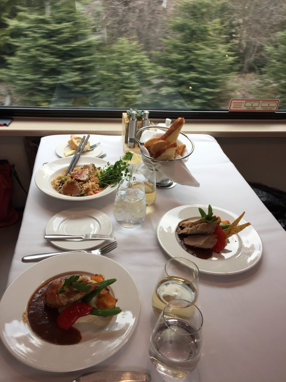 Lunch aboard the Rocky Mountaineer train is a culinary feast !