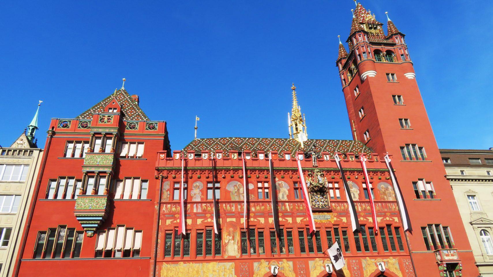 Red Town Hall (RatHaus) on Marketplatz in <em><strong>Basel</strong></em>, Switzerland