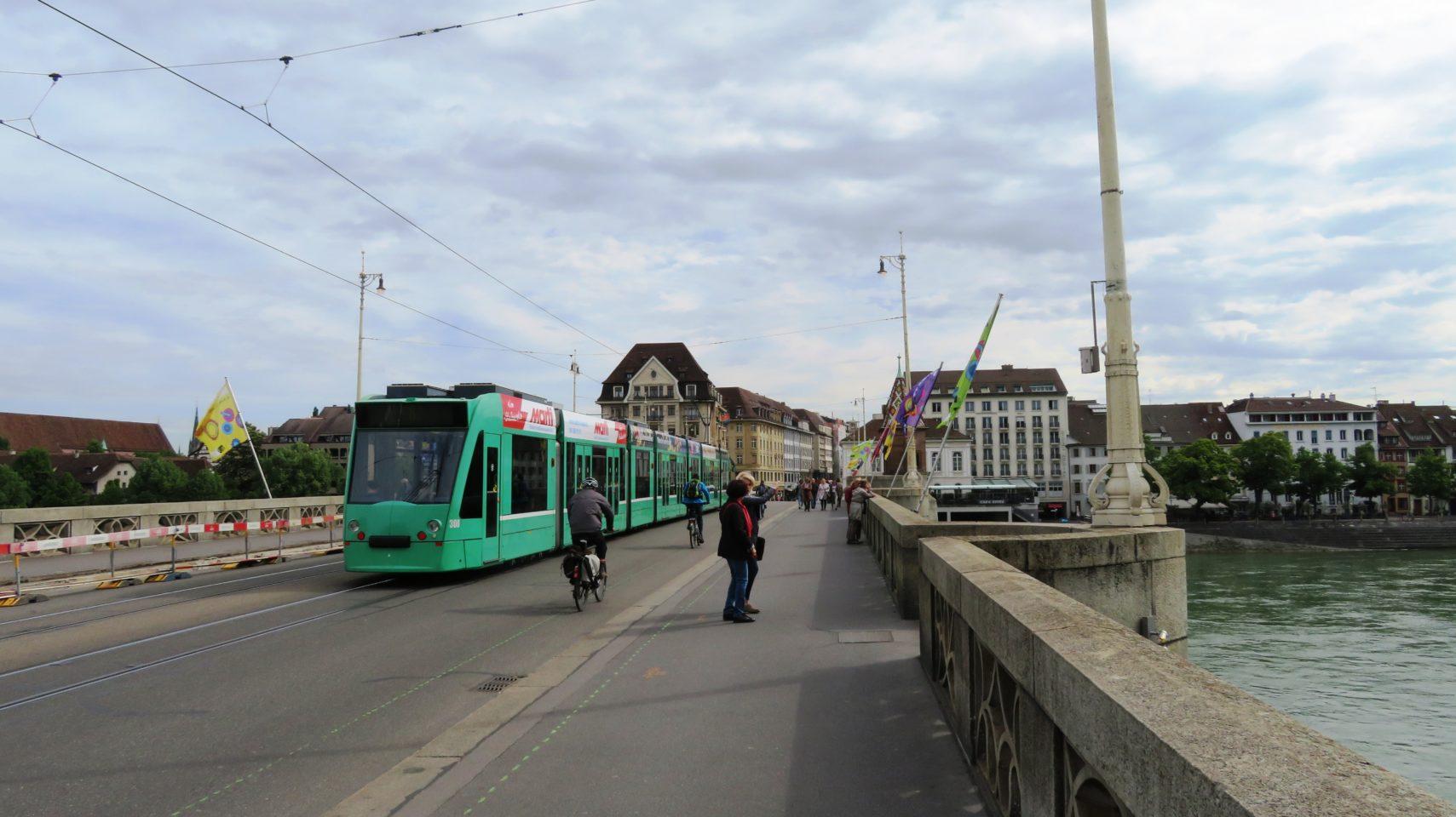 Tram on the Mittlere Brucke in Basel, Switzerland