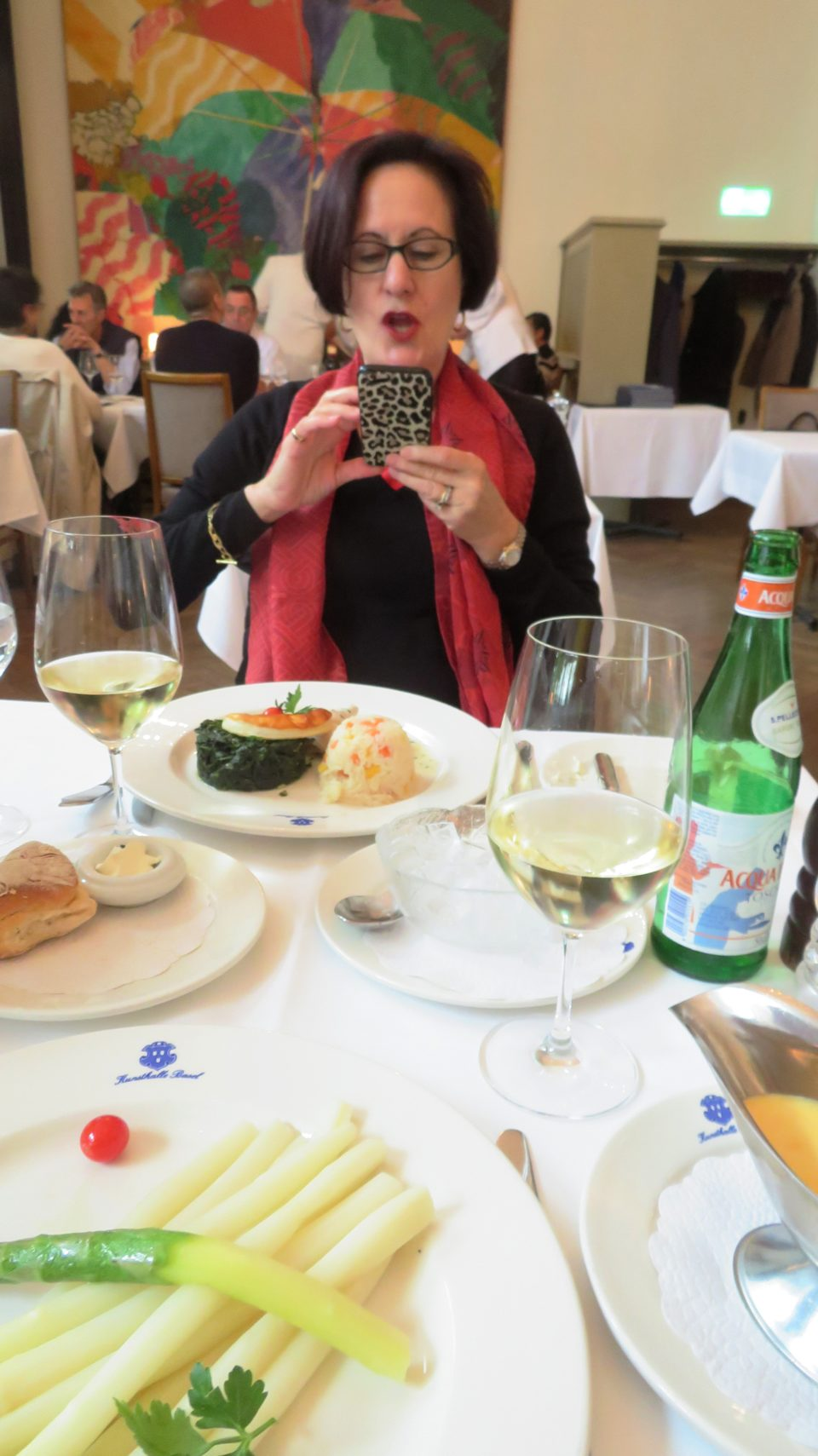 Lynn having a great time at the KunstHalle Restaurant in Basel, Switzerland