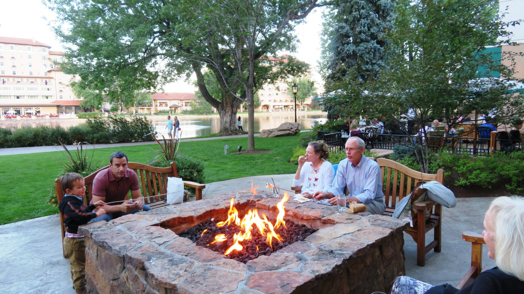 Old and young alike enjoy roasting marshmallows at The Broadmoor