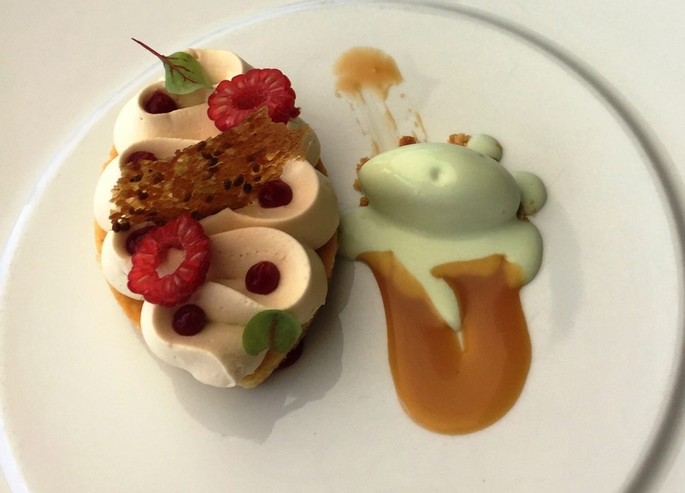 A dessert at Chateau Eza in Eze near Nice ~ Sable Breton aux Saveurs de Provence ~ Chocolat dulcey, confit framboises et gingembre, caramel au thym, creme glacee fenouil ~ When in Nice, we live to eat !